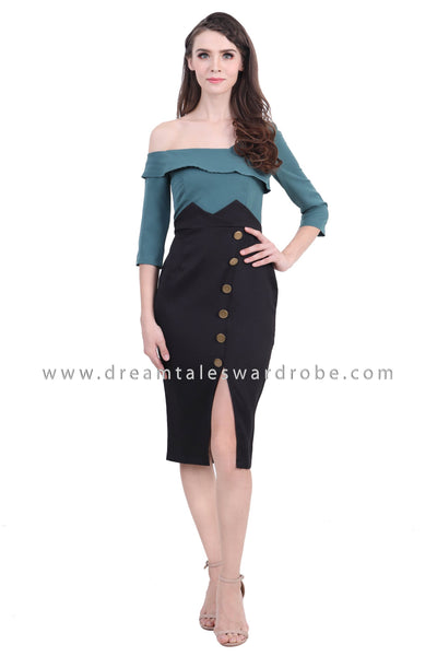 DT1388 Asymmetrical Shoulder Colourblock Midi Dress -  Green