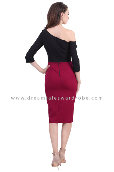 DT1388 Asymmetrical Shoulder Colourblock Midi Dress - Maroon