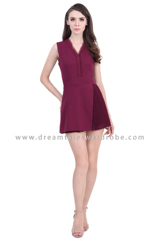 DT1389 Pleated Overlap Hem Sleeveless Playsuit - Purple