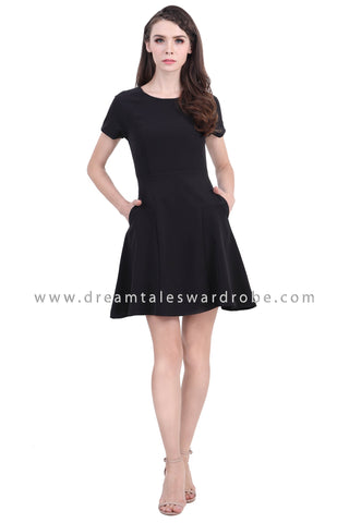 DT1390 Puff Sleeve Fit & Flare Dress - Black