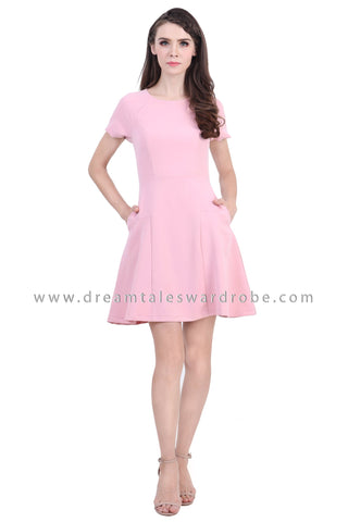 DT1390 Puff Sleeve Fit & Flare Dress - Pink