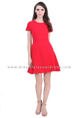 DT1390 Puff Sleeve Fit & Flare Dress - Tangerine