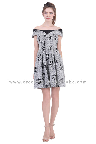 DT1391 Abstract Rose Shoulder Flared Dress - Black