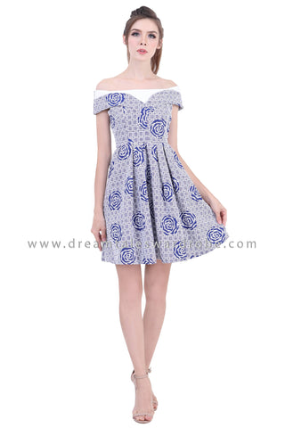 DT1391 Abstract Rose Shoulder Flared Dress -  Blue
