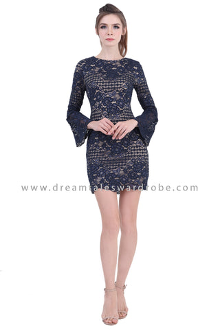DT1394 Bell Sleeve Crochet Lace Pencil Dress - Blue