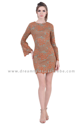 DT1394 Bell Sleeve Crochet Lace Pencil Dress - Brown