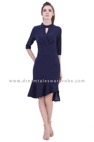 DT1395 Drape Asymmetrical Ruffle Midi Dress - Blue