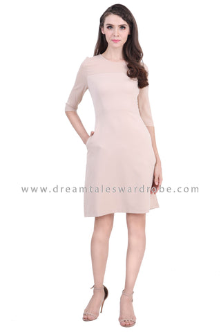 DT1396 Quarter Slim Sleeve Fit & Flare Dress -  Beige