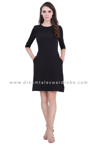 DT1396 Quarter Slim Sleeve Fit & Flare Dress - Black