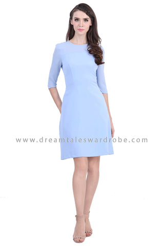 DT1396 Quarter Slim Sleeve Fit & Flare Dress - Powder Blue
