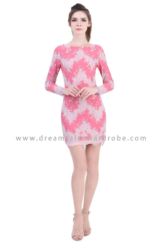 DT1400 Raw Lace Edge Boatneck Mini Dress -  Pink