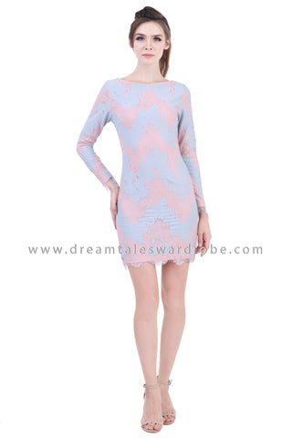 DT1400 Raw Lace Edge Boatneck Mini Dress - Powder Blue