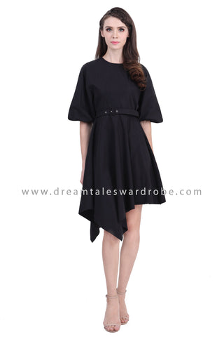 DT1401 Asymmetrical Hem Voluminous Sleeve Dress - Black