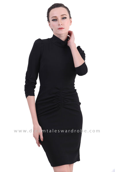 DT1405 High Neck Ruched Bodycon Dress - Black