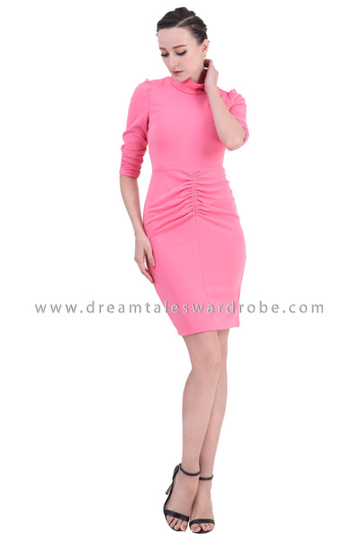 DT1405 High Neck Ruched Bodycon Dress -  Pink