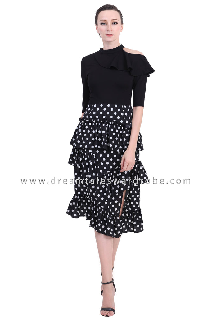 DT1411 Shoulder Cutout Statement Ruffle Dress -  Polka Dot