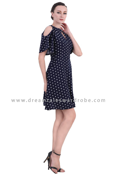 DT1413 Polka Dot Cold Shoulder Dress -  Blue