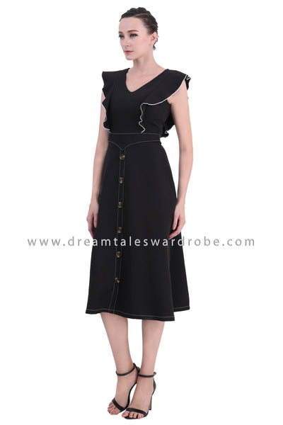 DT1421 Center Button Contrast Stitching Ruffle Dress - Black