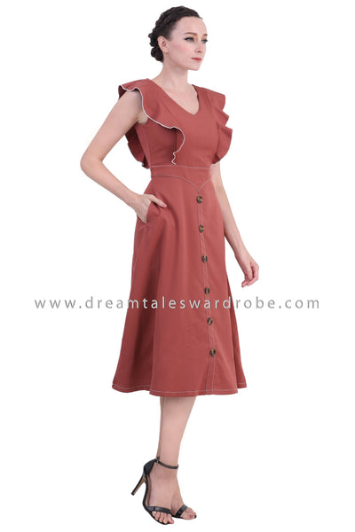 DT1421 Center Button Contrast Stitching Ruffle Dress -  Brown