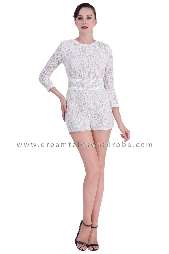 DT1422 Long Sleeve Mesh Lace Playsuit -  Cream