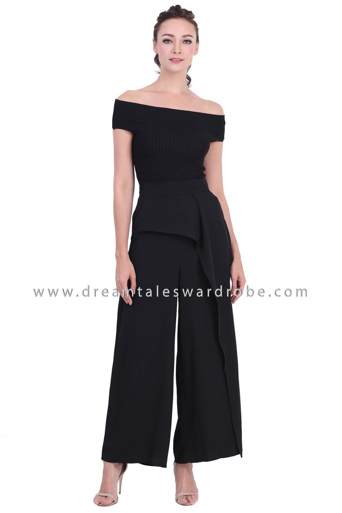 DT1435 Structured Overlap Palazzo Trousers -  Black