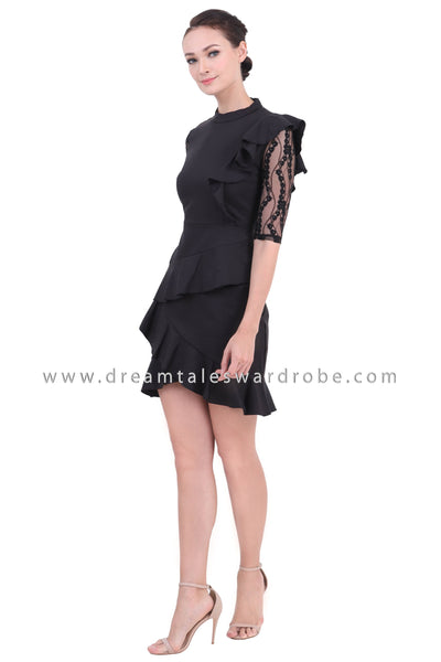 DT1438 Tiered Ruffle Hem Mini Dress  - Black