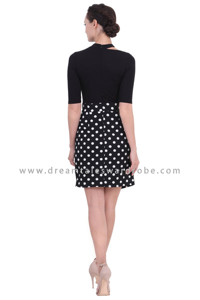 DT1439 Asymmetrical Neckline Contrast Print Dress  - Polka Dot