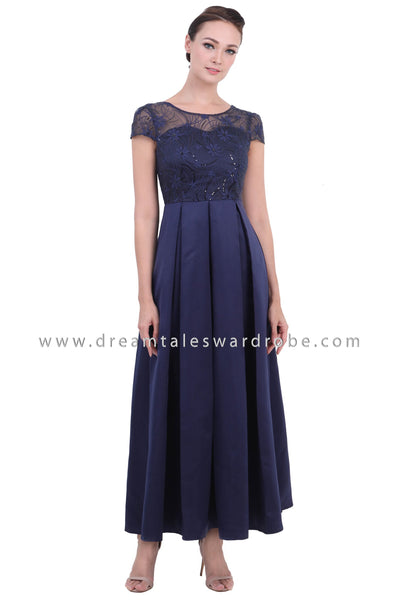 DT1440 Mesh Lace Pleated Evening Gown  - Blue