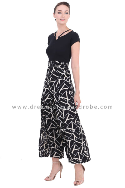DT1449 Split Hem Statement Neck Palazzo Jumpsuit  - Abstract Print