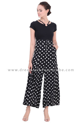 DT1449 Split Hem Statement Neck Palazzo Jumpsuit  -  Polka Dot