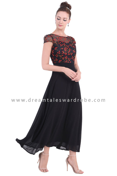 DT1455 Floral Cap Sleeve Evening Gown  -  Red Floral