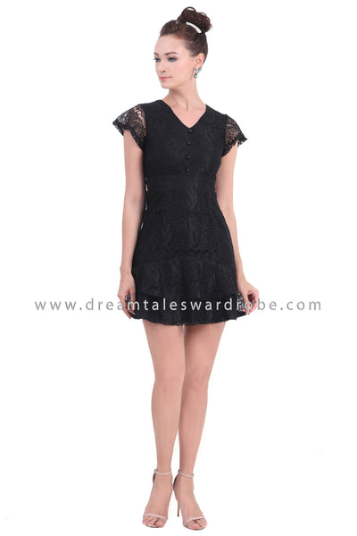 DT1456 Tiered Hem Ruffle Lace Dress - Black
