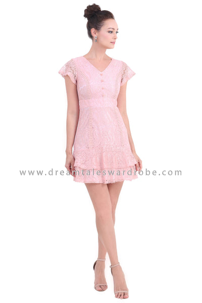 DT1456 Tiered Hem Ruffle Lace Dress -  Pink