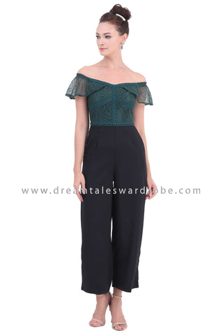 DT1461 Off The Shoulder Lace Palazzo Jumpsuit  - Green