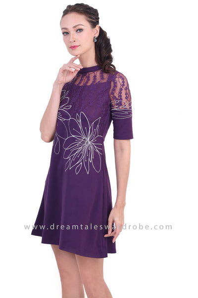 DT1465 Floral Contrast Lace Mesh Dress -  Purple