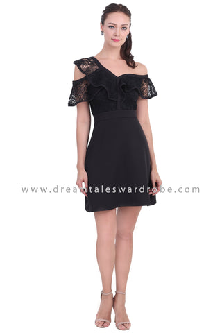 DT1469 One Shoulder Ruffle Lace Dress - Black