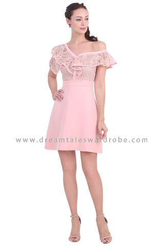 DT1469 One Shoulder Ruffle Lace Dress - Pink