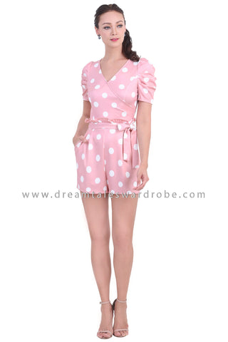 DT1471 Ruched Sleeve Paperbag Waist Playsuit - Pink