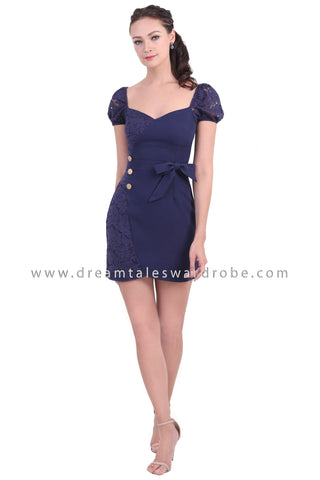 DT1472 Sweet Heart Neckline Lace Accent Dress - Blue