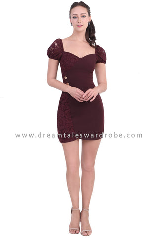 DT1472 Sweet Heart Neckline Lace Accent Dress -  Maroon