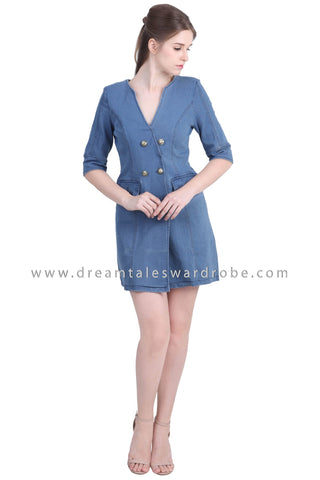 DT1475 Denim Suit Style Dress -  Medium Blue