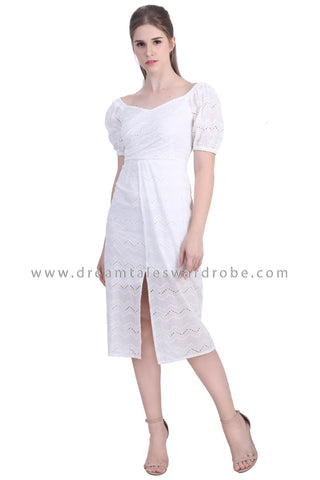 DT1478 Puff Sleeve Split Hem Eyelet Dress -  White