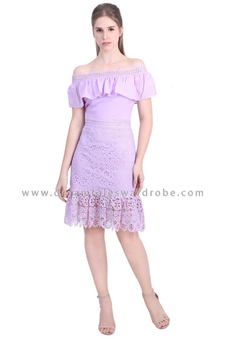 DT1479 Bardot Ruffle Lace Drop Hem Dress - Purple