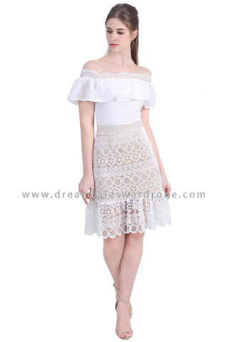DT1479 Bardot Ruffle Lace Drop Hem Dress -  White