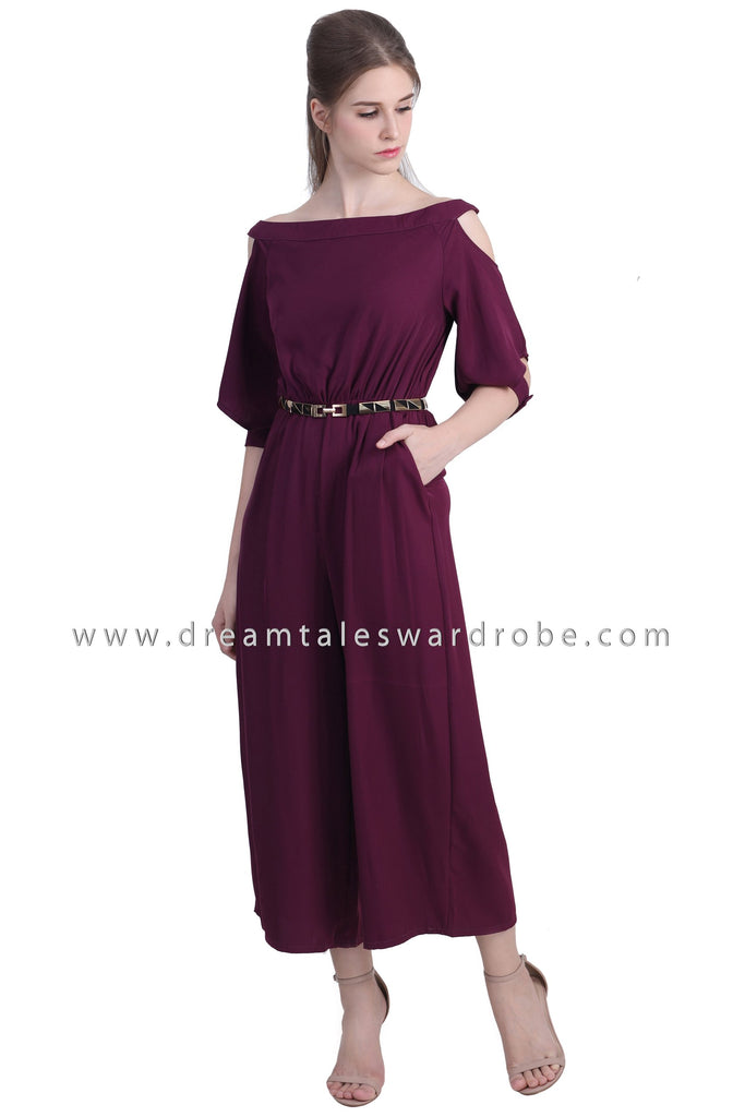 DT1480 Cuffed Sleeve Cold Shoulder Jumpsuit  - Purple