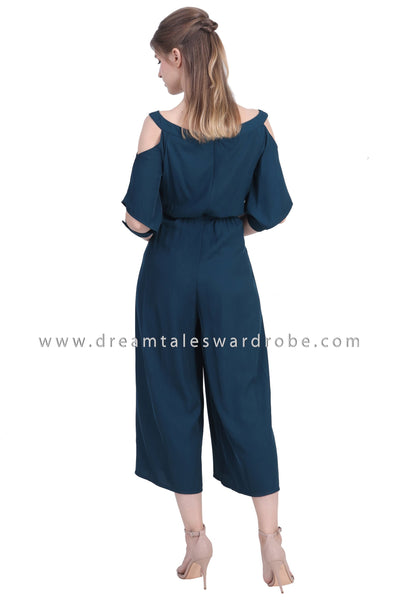 DT1480 Cuffed Sleeve Cold Shoulder Jumpsuit  -  Teal