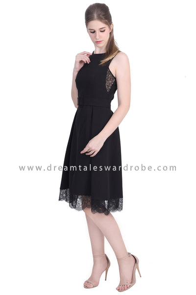 DT1481 Lace Trim Pleated Slit Hem Midi Dress - Black