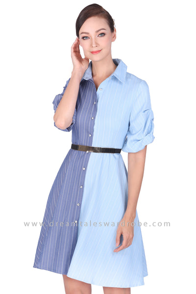 DT1495 Colourblock Striped Shirt Dress -  Light Blue