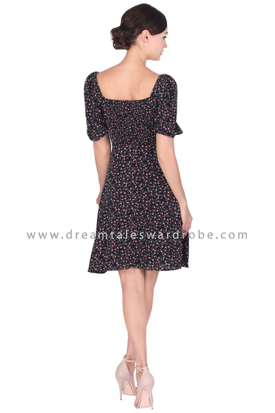 DT1499 Trapeze Neck Puff Sleeve Dress - Black