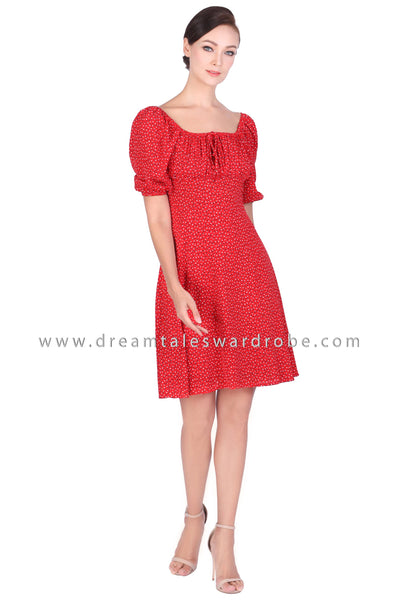 DT1499 Trapeze Neck Puff Sleeve Dress -  Red